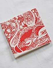 Tea Towel - Deer Print in Red - Organic Cotton - Flour Sack
