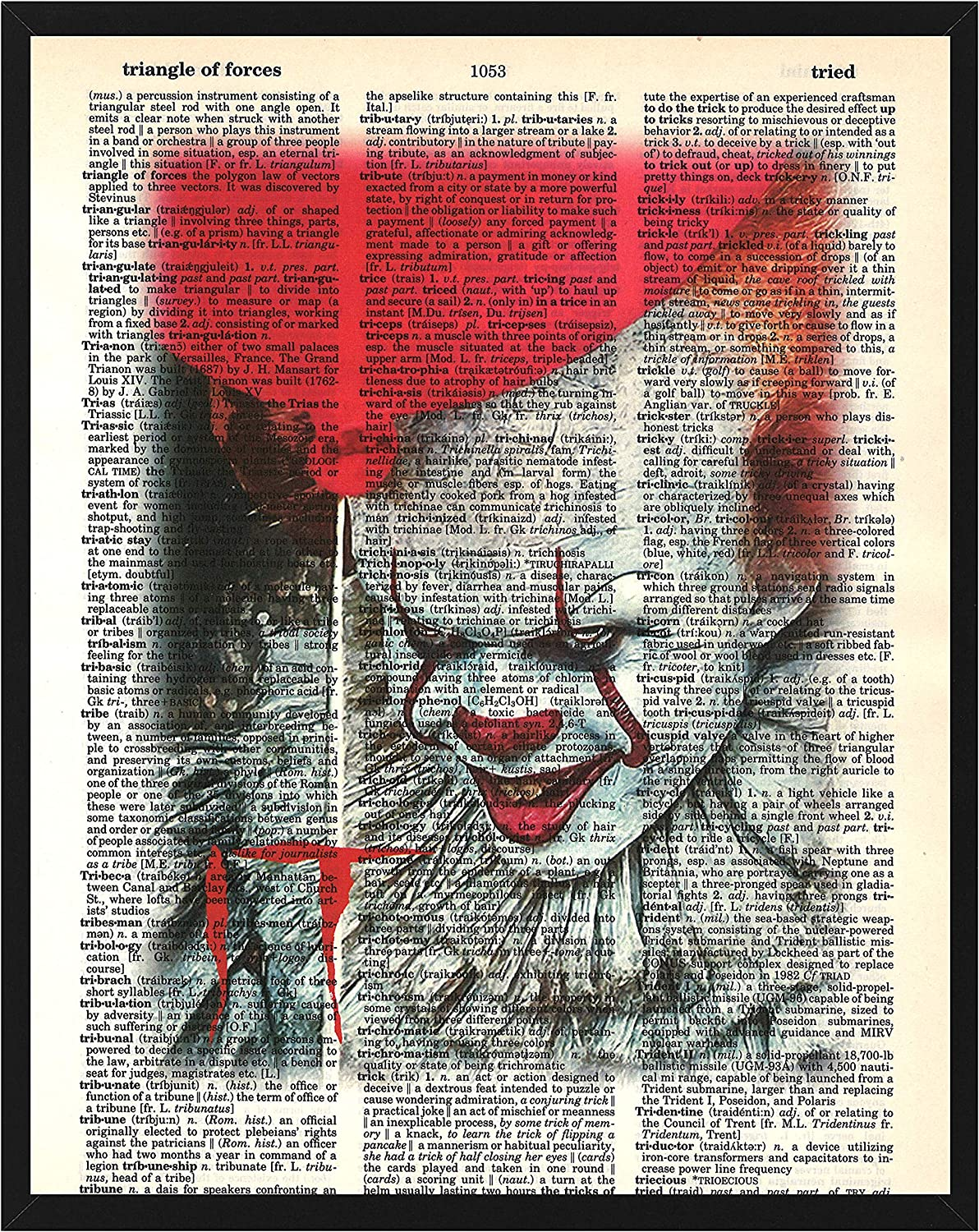Signature Studios Pennywise The Clown Stephen King It Horror Movie Fan Art Pennywise Dictionary Art Print 8x10