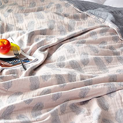 f5a70cb726 Scientific Sleep Feather Cute Cozy Lightweight Muslin Cotton Blanket Twin