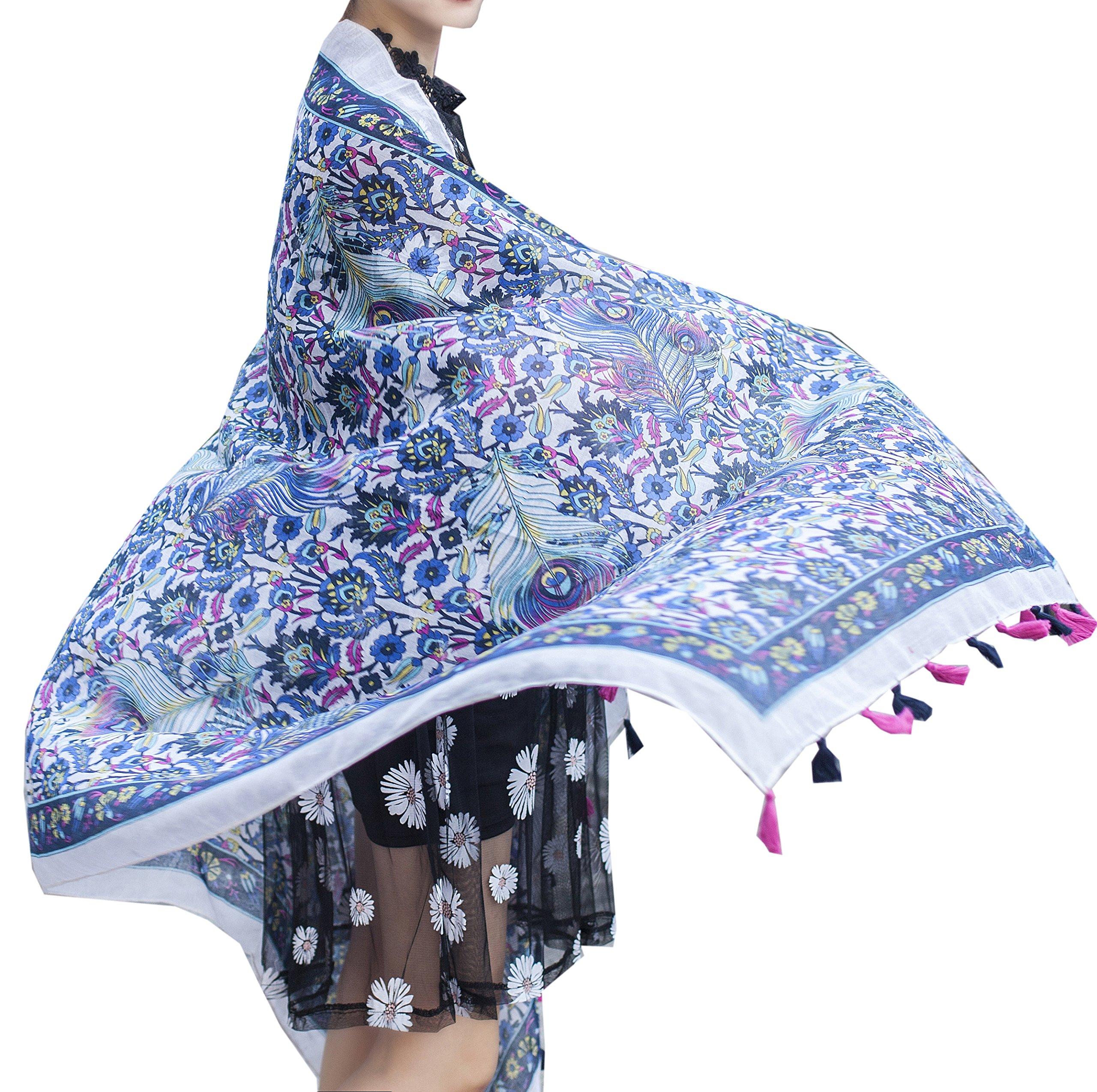 Aoli's Fashion Women's Printed Boho Bohemian Elephant Scarf Wrap Shawl (BHO001)
