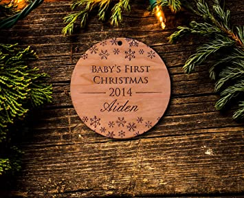 Baby S First Christmas Personalized Ornaments Laser Cut From Cherry Wood Babys