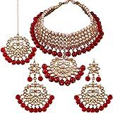 I Jewels Traditional Kundan & Pearl Choker Necklace Set for Women (K7058R)