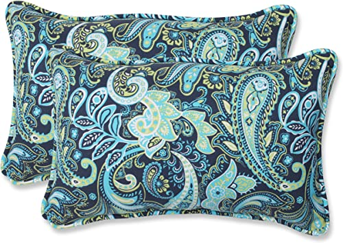 Pillow Perfect Outdoor Indoor Pretty Paisley Navy Lumbar Pillows, 11.5 x 18.5 , Blue, 2 Pack