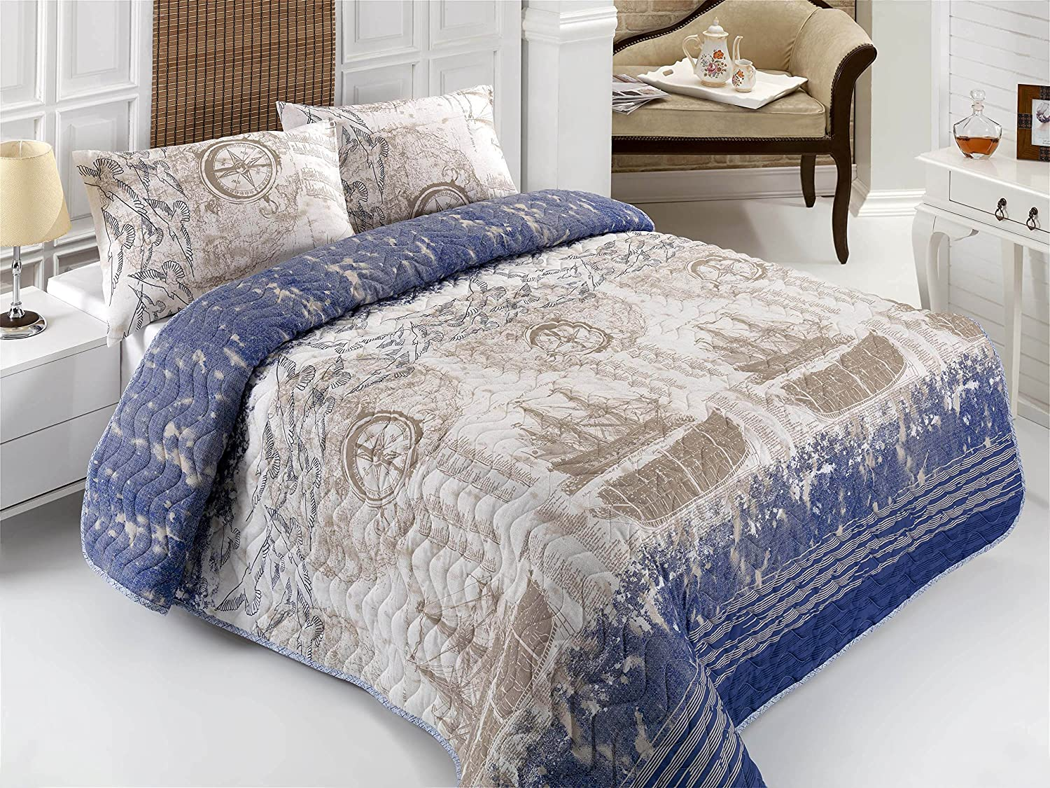 DecoMood Nautical Bedding, Full/Queen Size Bedspread/Coverlet Set, Ship, Compass, and Birds Themed Girls Boys Bedding, 3 PCS,