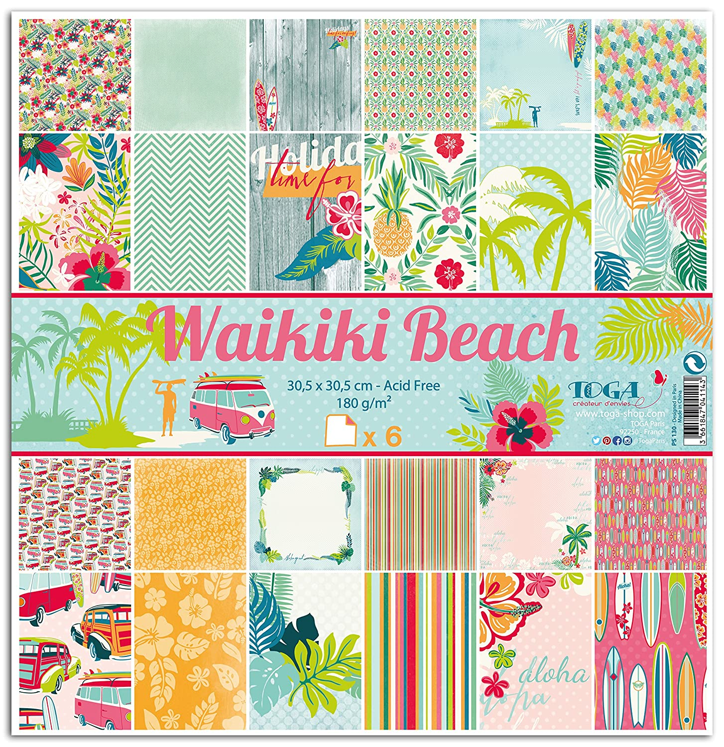 Toga PS130 Waikiki Beach – Set di 6 fogli carta,, 30,5 x 30,5 x 0,1 cm
