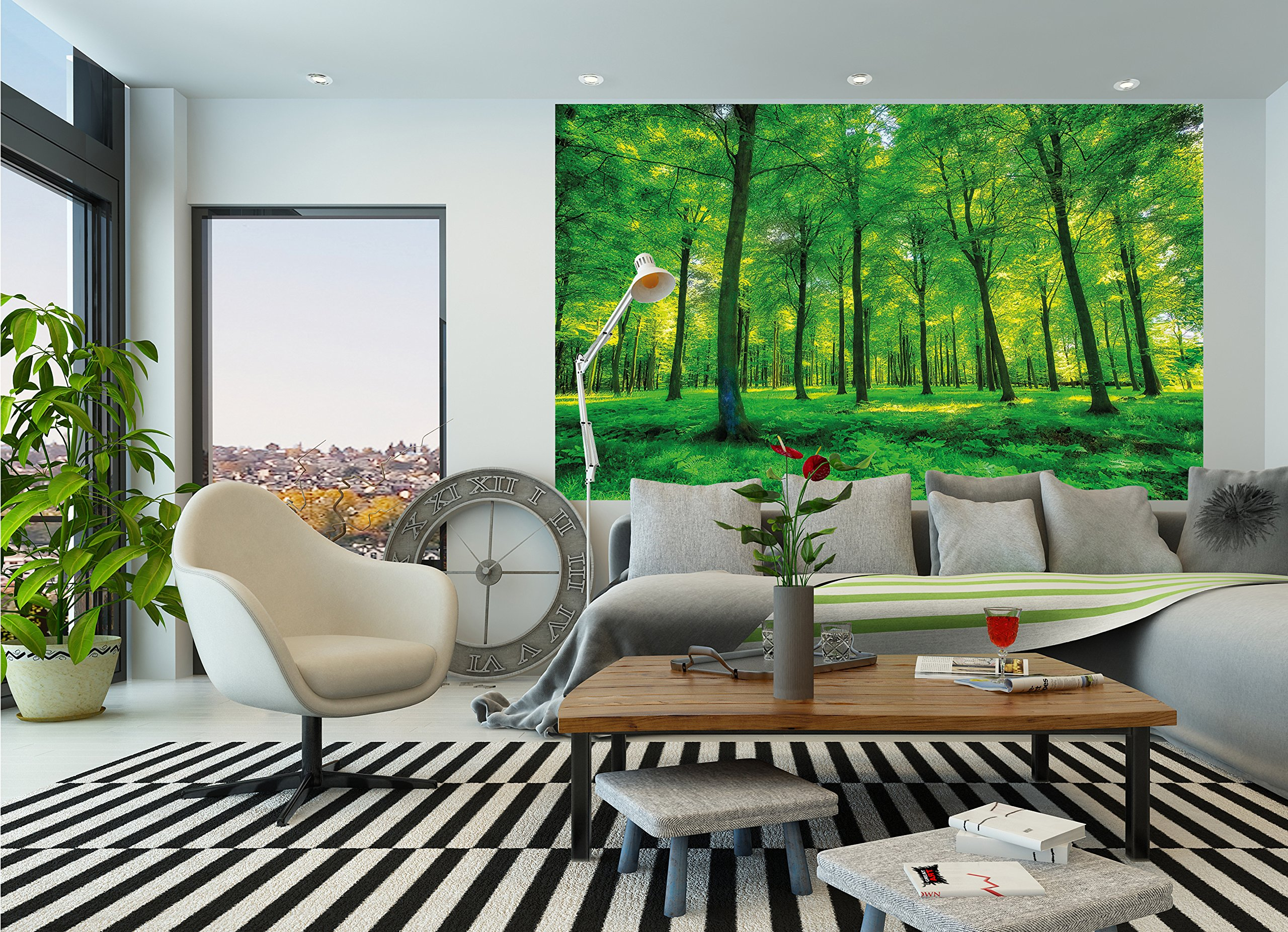 GREAT ART Wallpaper Trees Forest – Nature Wall Photo Decoration Natural Landscape Poster Summer Relax Sun Plants Flora Mural (82.7x55 Inch) by Great Art (Image #9)