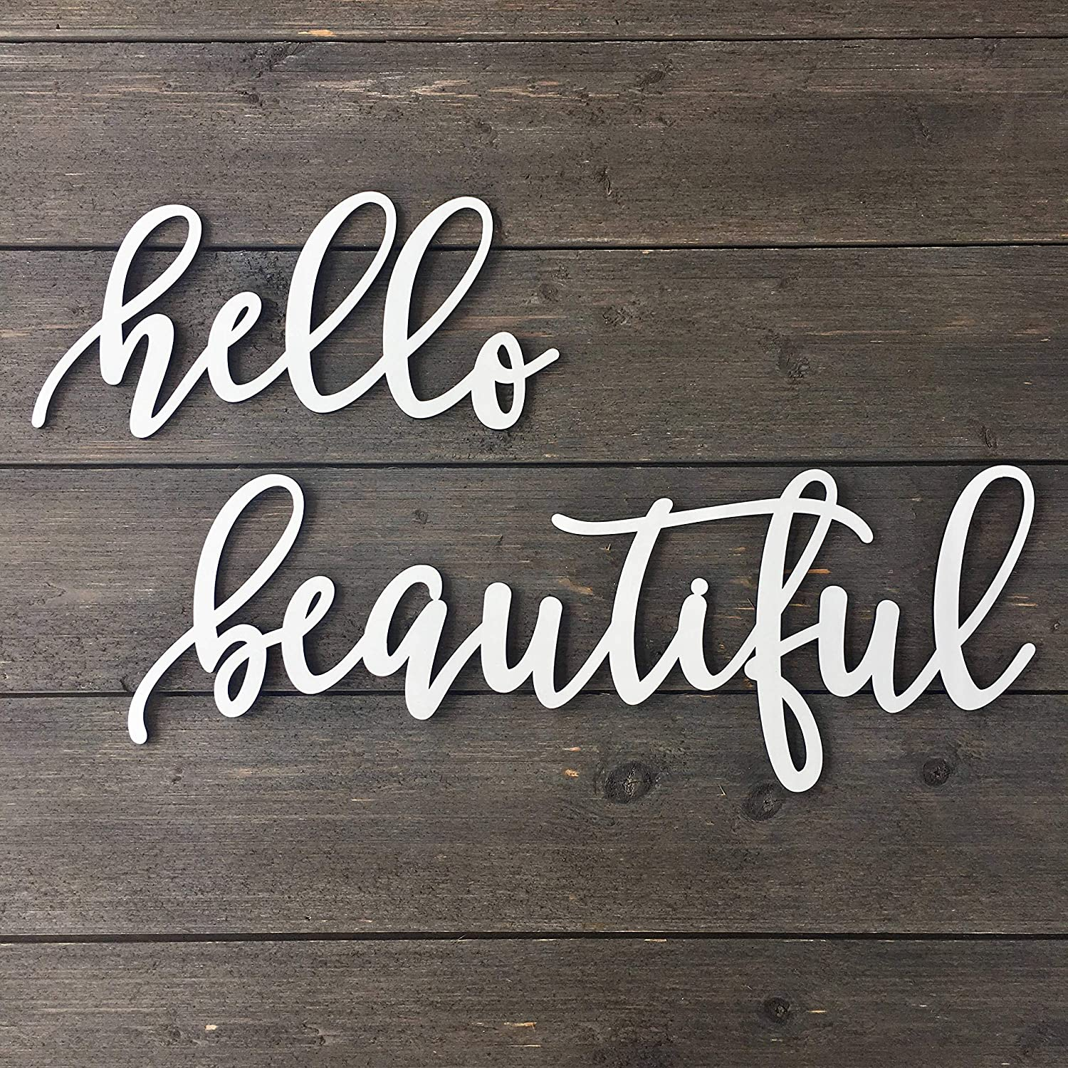 NOT BRANDED Hello Beautiful Wall Sign 24 inches Total lengthwidth Cutout No Backboard Wedding Sign Wooden Sign Nursery Girl Room Office Home Baby