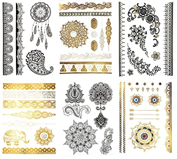 5e5550590 Amazon.com : Large Temporary Henna Metallic Tattoos - Over 50 Mehndi  Mandala Designs, Gold Silver Black (6 Sheets) Terra Tattoos Shay Collection  : Beauty