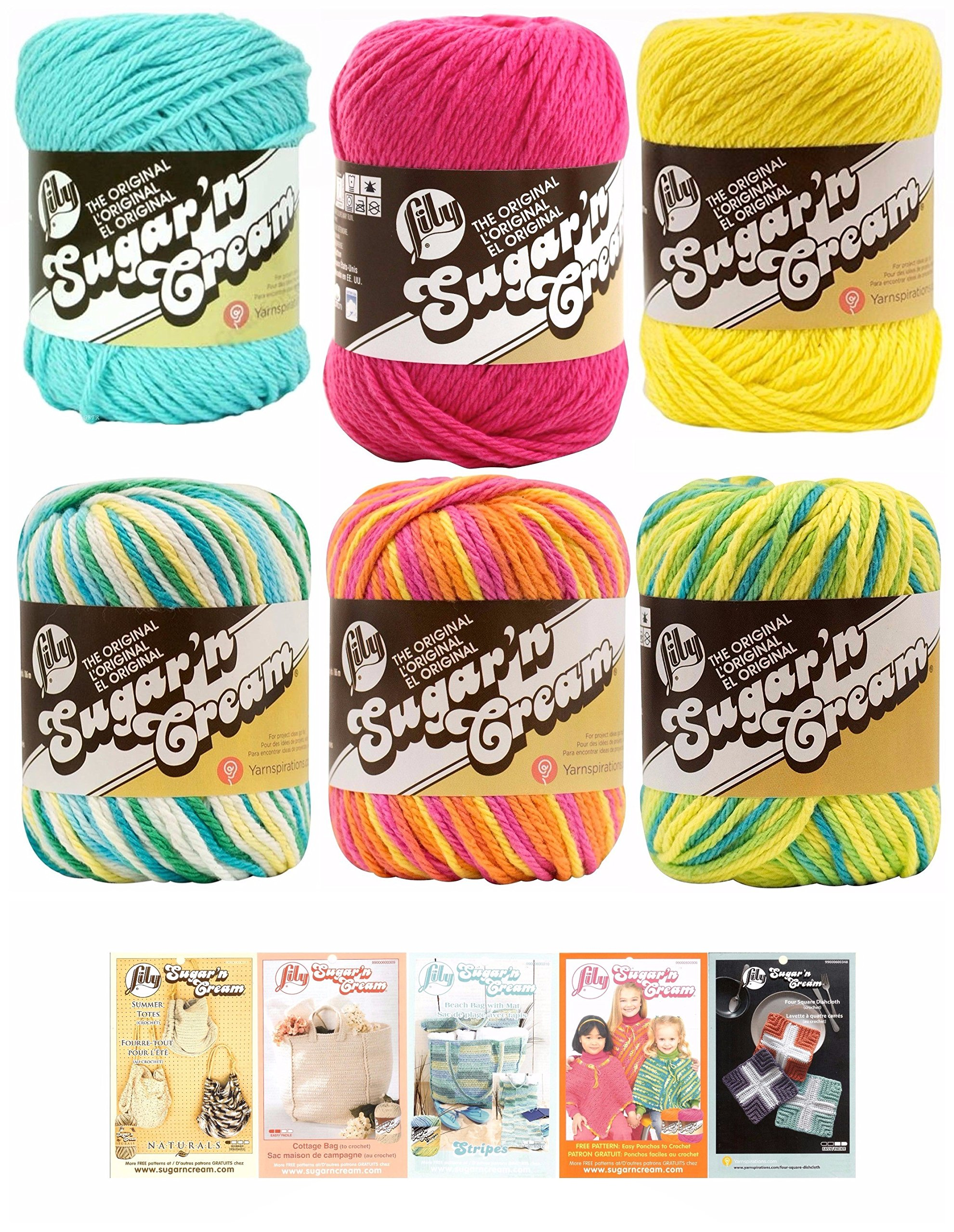 Lily Sugar n' Cream Variety Assortment 6 Pack Bundle 100% Cotton Medium 4 Worsted with 5 Patterns (Multi 5)