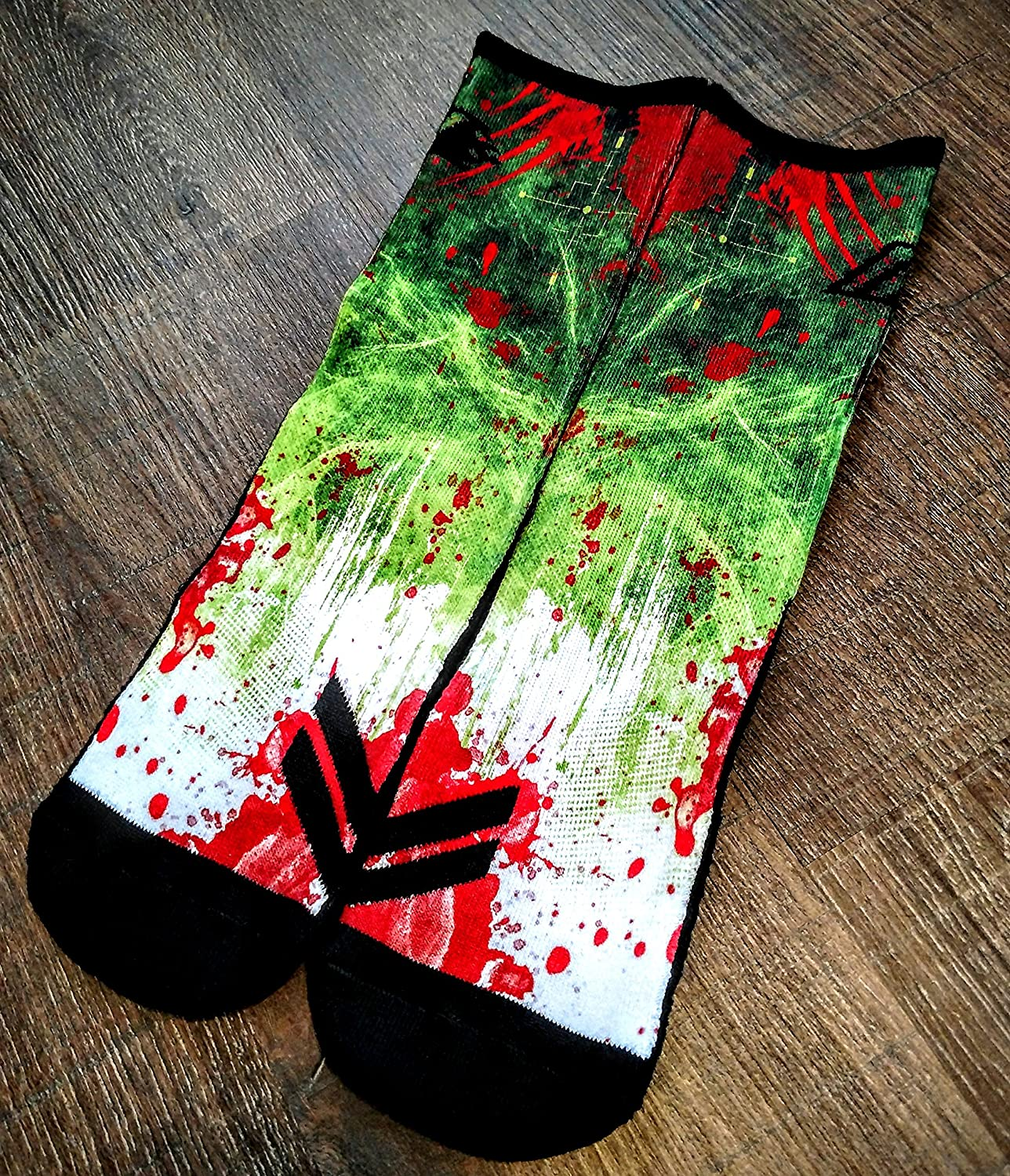 Sock Motto Funny Crazy Colorful Custom Basketball Crew Athletic Socks ZOMBIE DESTROYER