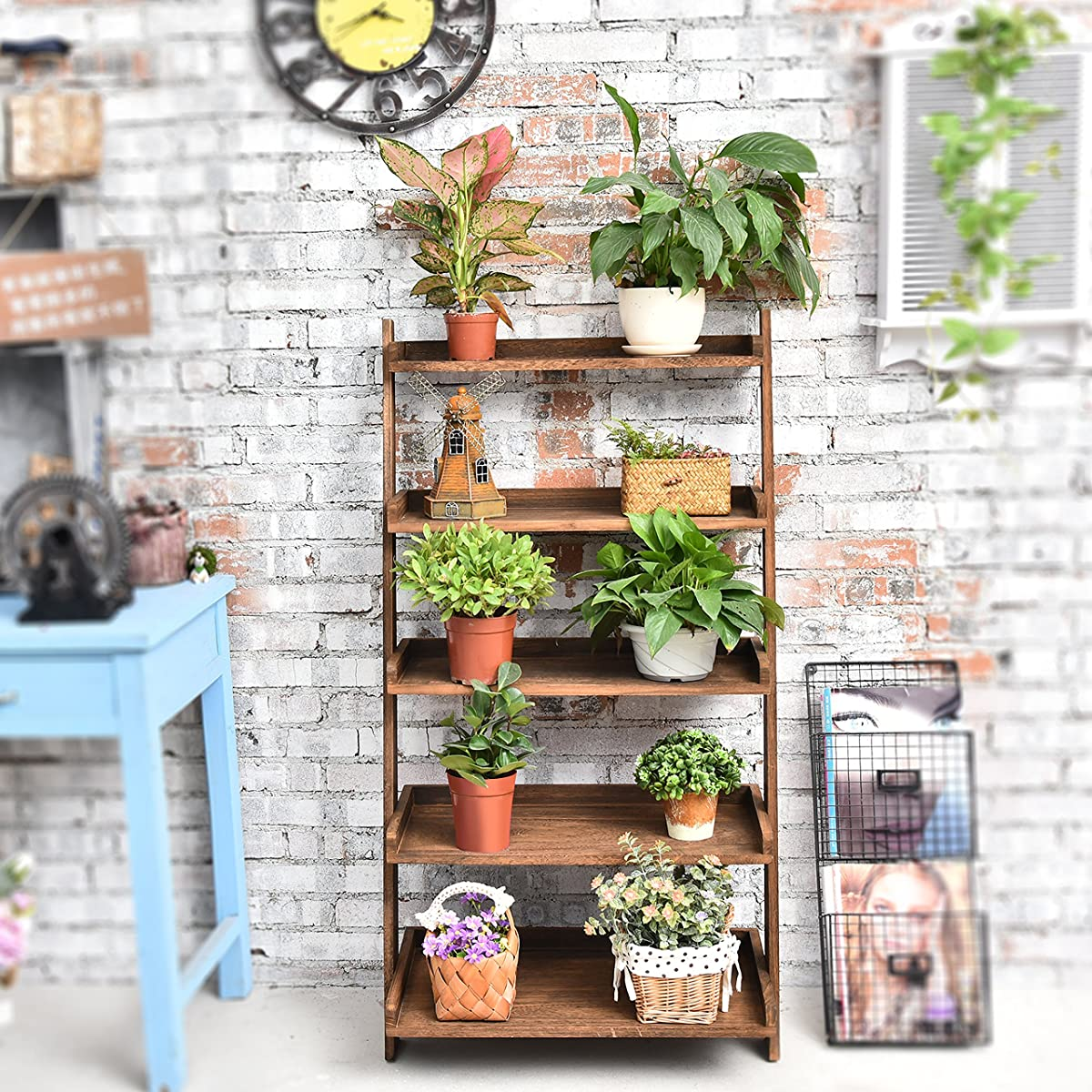 5 Tier Country Rustic Wood Display Shelf, Leaning Wall Organizer Rack, Dark Brown