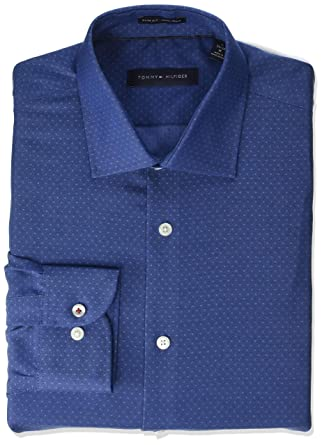 97dc24b7 Tommy Hilfiger Men's Dress Shirts Non Iron Slim Fit Print at Amazon Men's  Clothing store: