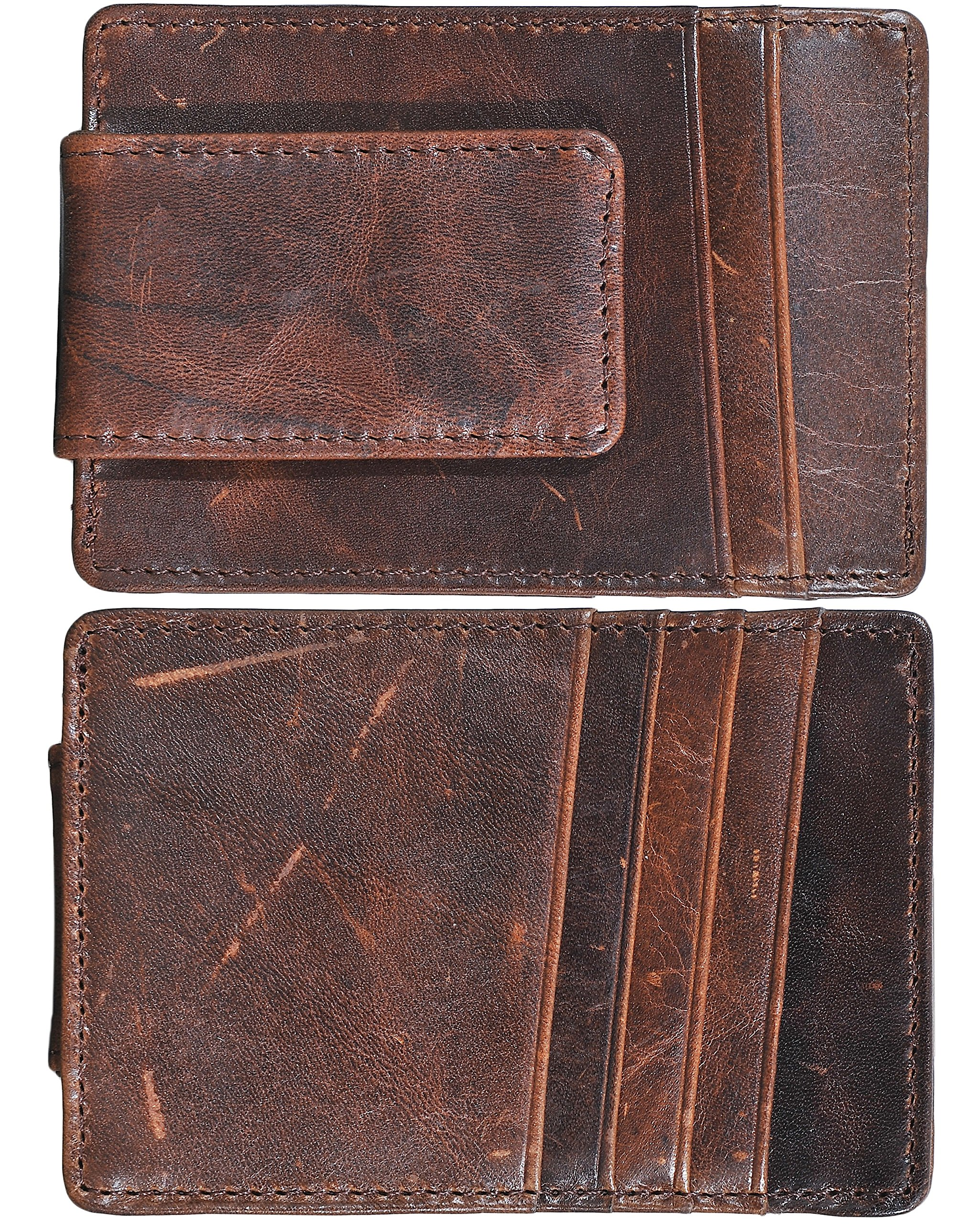 Mens Money Clip Wallet RFID Slim Wallet Genuine Leather Thin Front Pocket Wallet (Coffee (Oil Wax Leather)) by Yuhan Pretty (Image #7)