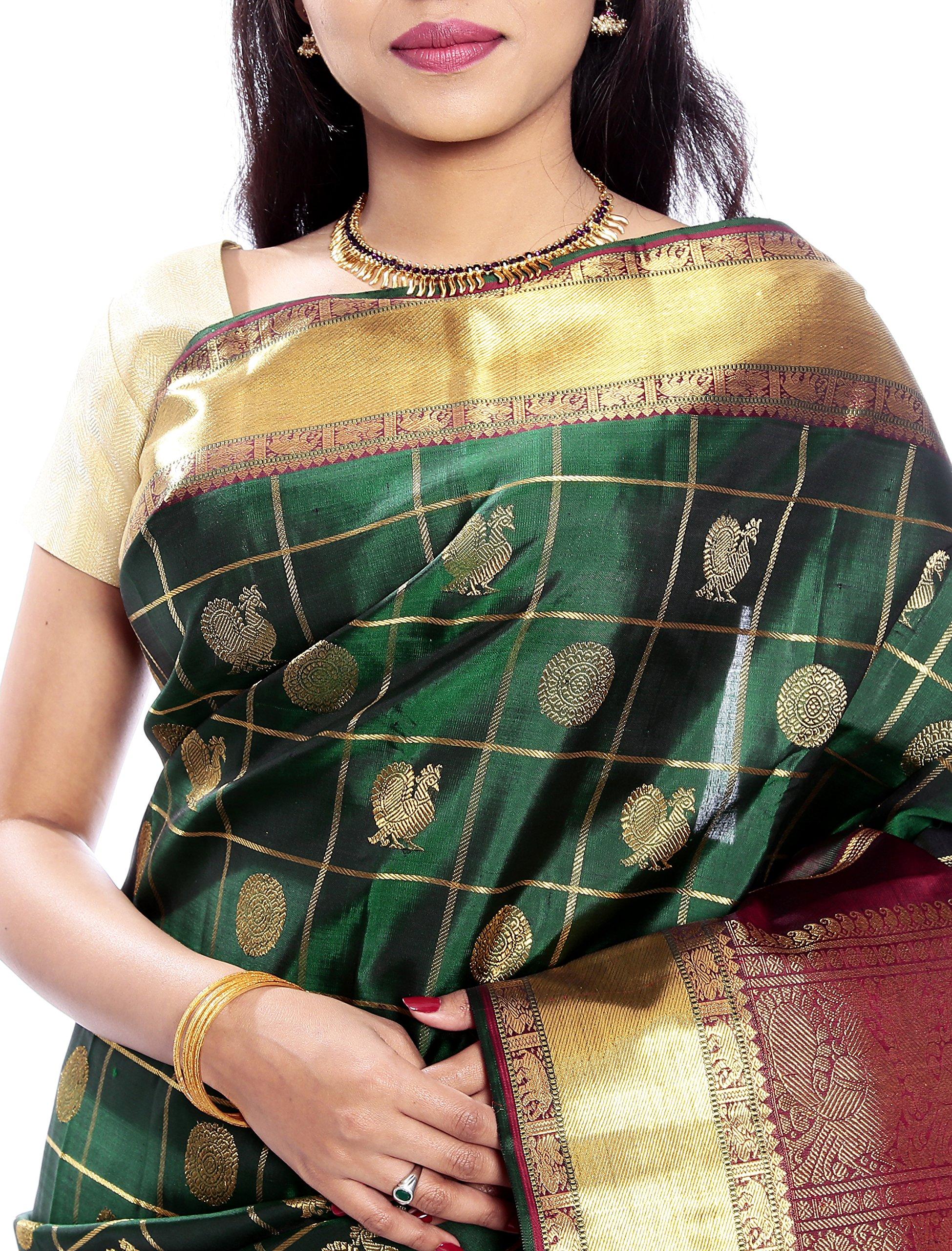Mandakini — Indian Women's Kanchipuram - Handloom - Pure Zari & Pure Silk Saree (Dark green ) (MK210) by Mandakini (Image #3)
