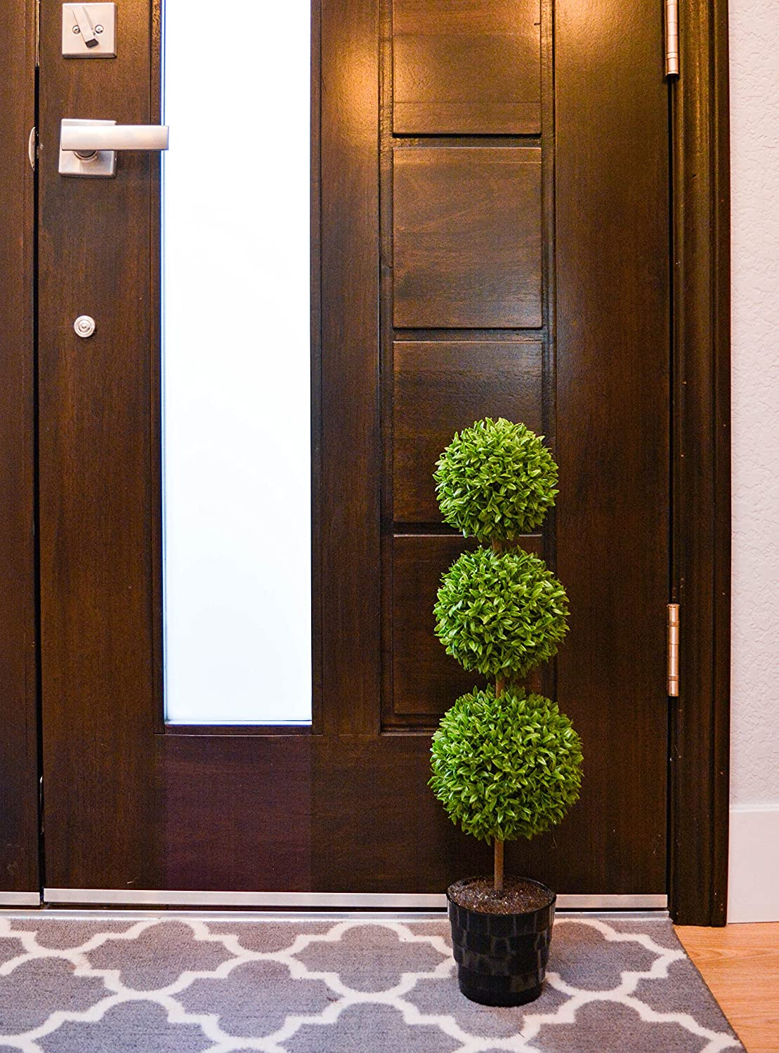 Admired By Nature GTR7680-GREEN 24 Tall Artificial Tabletop English Boxwood Triple Ball Shaped Topiary Plant in Plastic Pot Green Single Pack