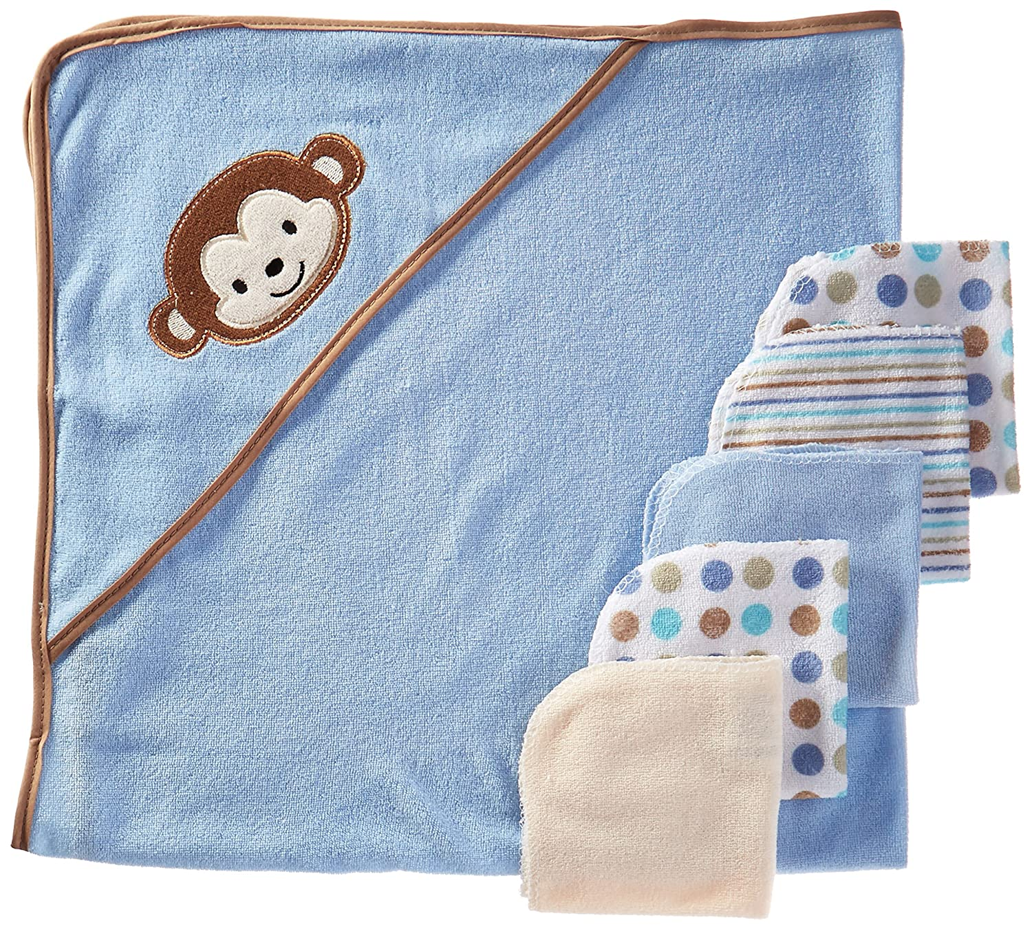Baby Crib Mates Hooded Towel with 5 Wash Cloths, Blue Monkey, 0-18 Months CM3510