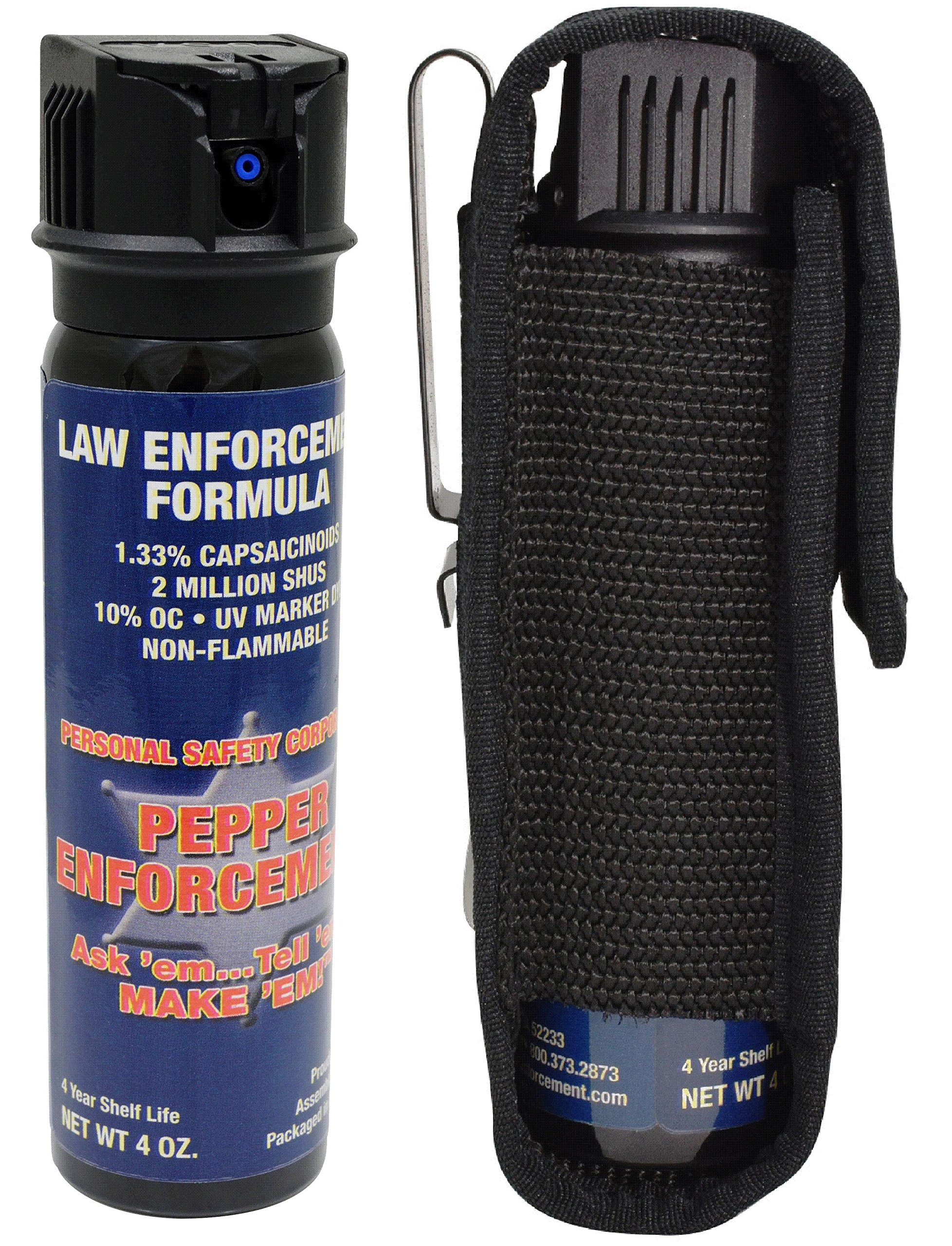 Pepper Enforcement 4 oz. Splatter Stream Police Strength 10% OC Spray and Tactical Metal Clip Holster - Professional Grade Emergency Self Defense Non Lethal Weapon for Personal Protection by Pepper Enforcement