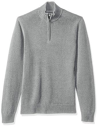6ff19ae8b5f3dd Goodthreads Men's Soft Cotton Quarter Zip Sweater, Heather Grey, X-Small