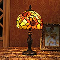 8-Inch Pastoral Sunflower Stained Glass Table Lamp Bedroom Lamp Bedside Lamp Model A