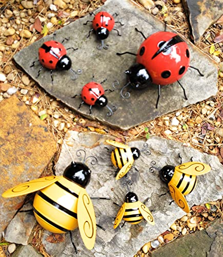 King Cyrus Decorations Outdoor. Metal Yard Art Outdoor and Garden. 8 Piece Decorative Hanging Fence Decor Insects Honey Bee Yard Decor and Lady Bug Garden Accents
