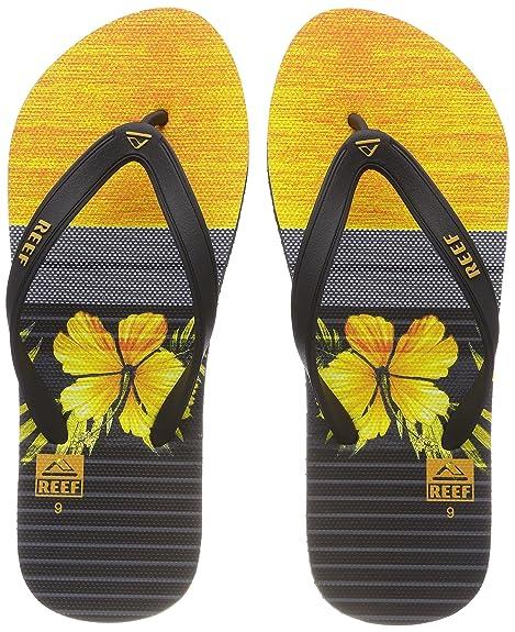 cf59373eba0d Reef Men s s Switchfoot Prin Black Yellow Flip Flops  Amazon.co.uk ...