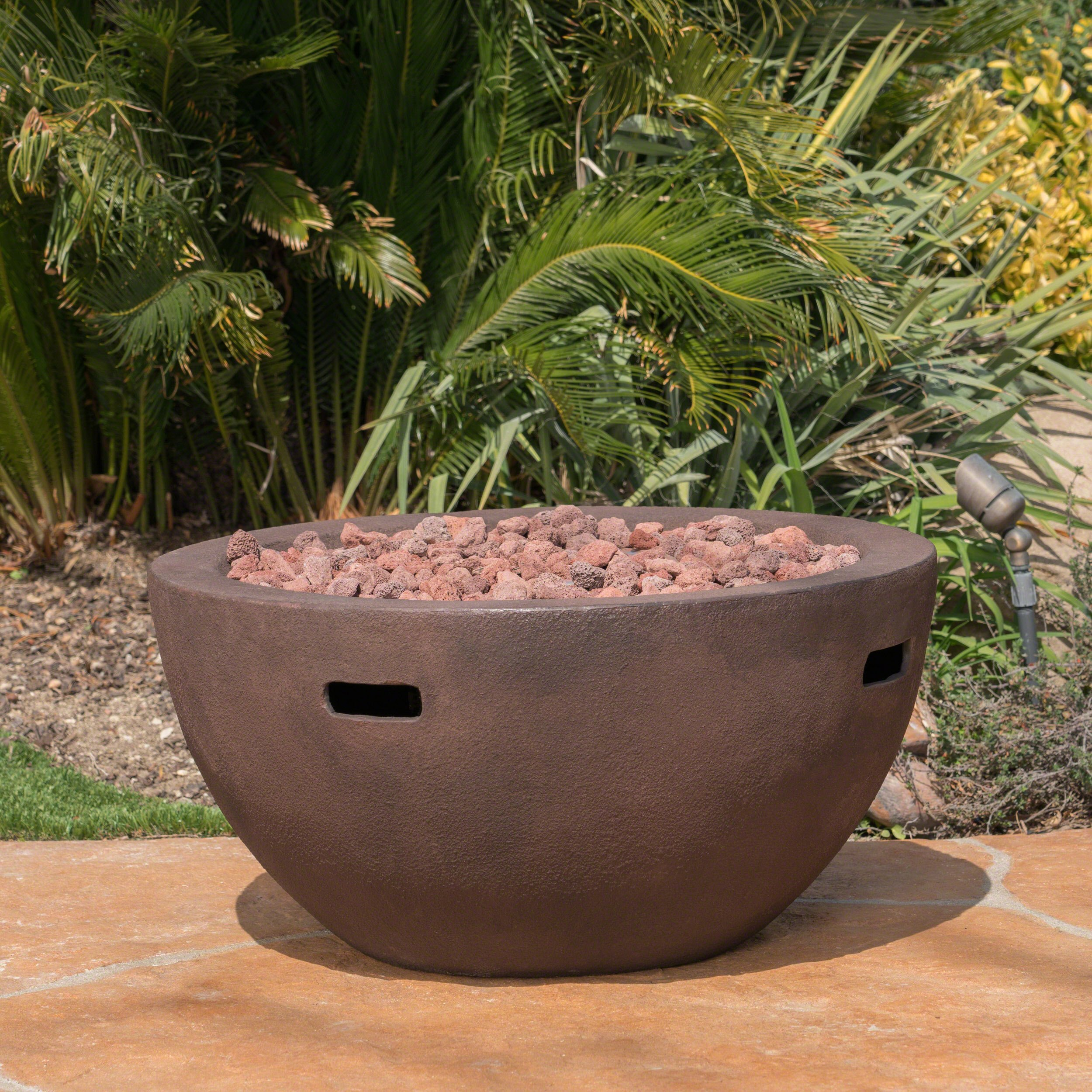 Great Deal Furniture Teresa Outdoor 34 Inch Brown Finish Light Weight Concrete Bowl Fire Pit - 40,000 BTU by Great Deal Furniture