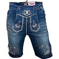 Almwerk Heren klederdracht jeans lederhose kort model Platzhirsch in blauw en zwart