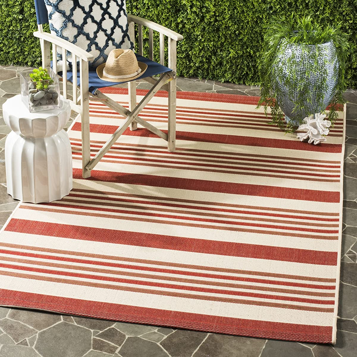 Safavieh Courtyard Collection CYL7062-238A Beige and Red Indoor/ Outdoor Area Rug (5 x 8)