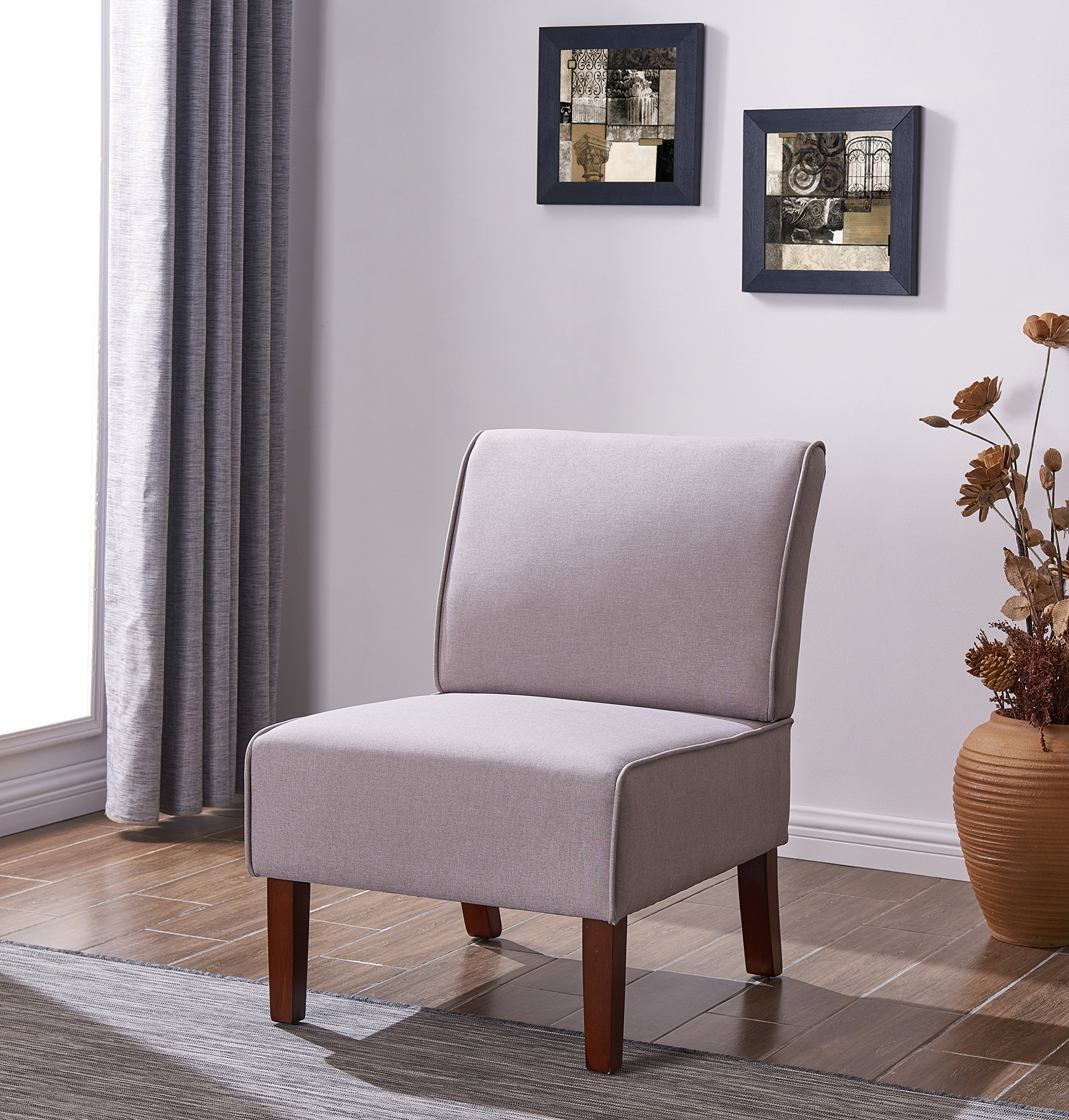EBS My Furniture Armless Fabric Accent Chair Living Room Bedroom Office Meeting Room (Light Grey)