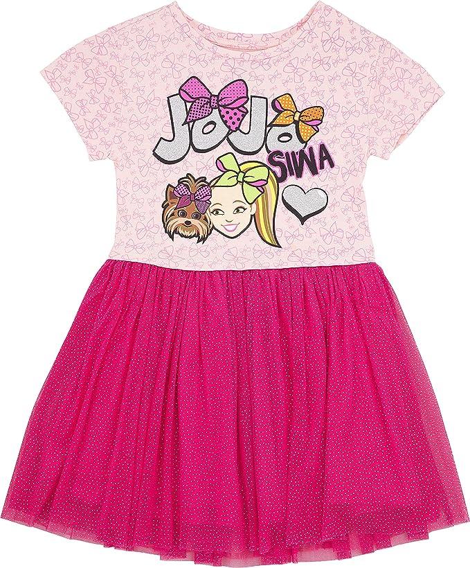 Girls 100/% Cotton Jojo Siwa Pleated Dress Unicorn Mesh Tutu Skirt Holiday Dress