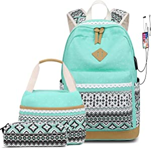 School Backpacks for Teen Girls Bookbags Lightweight Canvas Backpack Schoolbag Set (Mint Green - USB port)