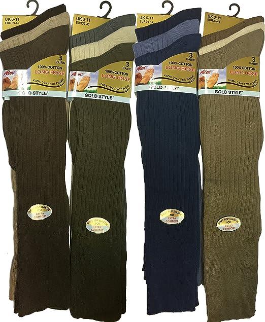 12 pares de calcetines largos para hombre 100% Puro algodón acanalado, calcetines rodilla alta de algodón puro. multicolor Surtido: Amazon.es: Ropa y ...