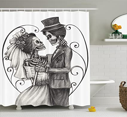 Ambesonne Day Of The Dead Decor Shower Curtain By Love Valentines Skull Skeleton Marriage Eternal