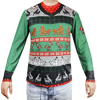 faux real naughty ugly xmas sweater printed t shirt adult size