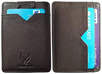f30849f888c7 Merlin Slim Card Holder Wallet with RFID Blocking Protection - Genuine high  Quality Italian Leather - Slim Minimalist Card Holder for Men Retractable  ...