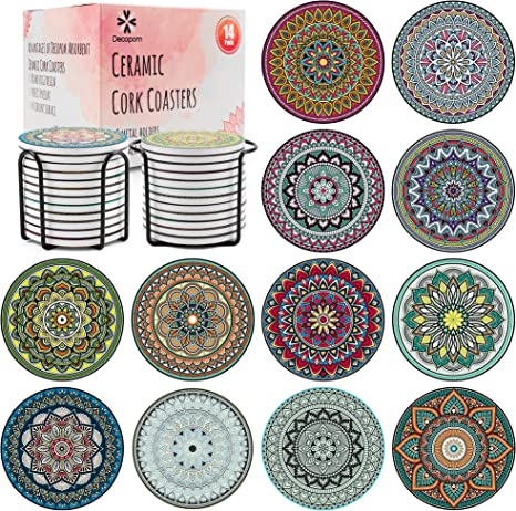 Amazon Com Decopom Drink Coasters Stone Mandala With Holders 12 Pack Cute Cool Drink Coasters Absorbent Ceramic Round Edge With Cork Base And 2 Black Iron Holders For Apartment Table Bar Mugs