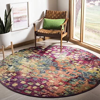 Safavieh Monaco Collection MNC225D Modern Abstract Watercolor Pink and Multi Round Area Rug (5 Diameter)