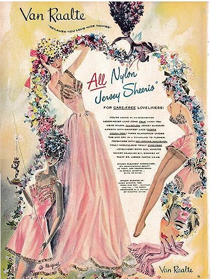 1948 Van Raalte Ladies Undies-All Nylon-Stockings-Original 13.5 * 10.5 Magazine