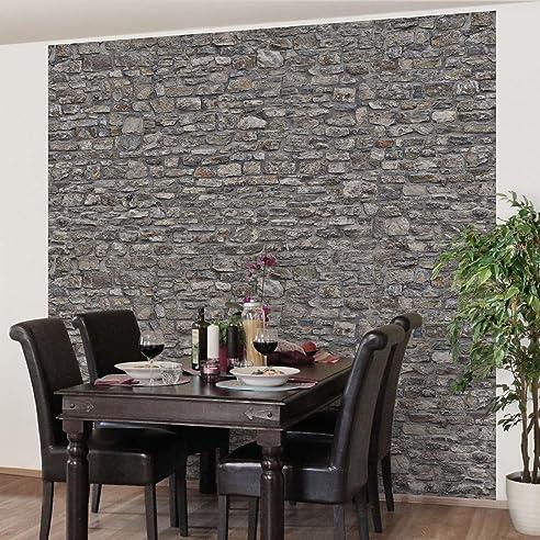 Perfect Fototapete | Steintapete Alte Steinmauer   Vliestapete Quadrat | Tapete  Steinoptik Naturstein Grau | Vlies Wandbild
