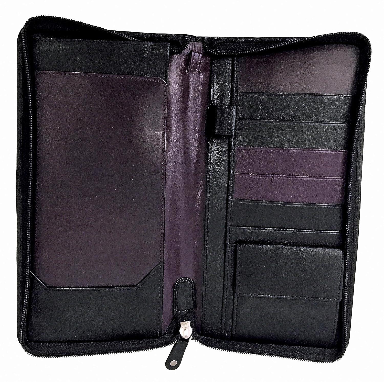Hombre Negro 100% Cuero Tarjeta Elegante Cartera Organizador Portadocumentos con Cremallera para Pasaporte y Documentos (Travel Wallet): Amazon.es: Equipaje