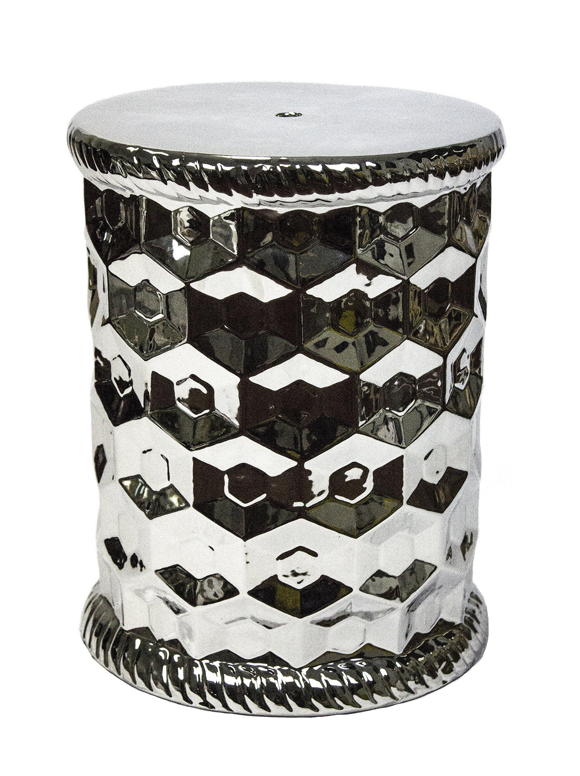 Sagebrook Home FC10453-01 Edged Garden Stool, Silver Ceramic, 13 x 13 x 18 Inches