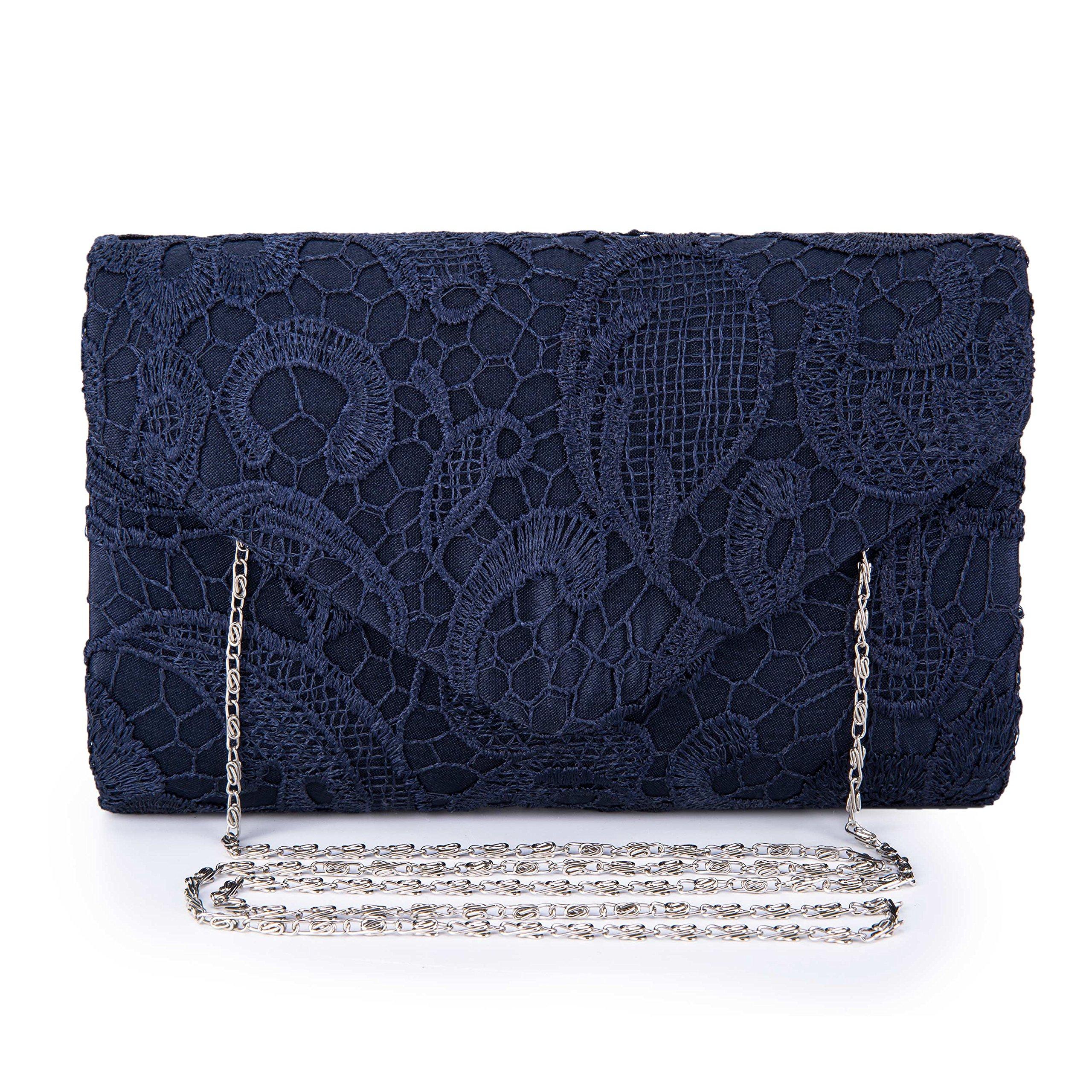 Chichitop Women's Elegant Floral Lace Envelope Clutch Evening Prom Handbag Purse, Navy Blue