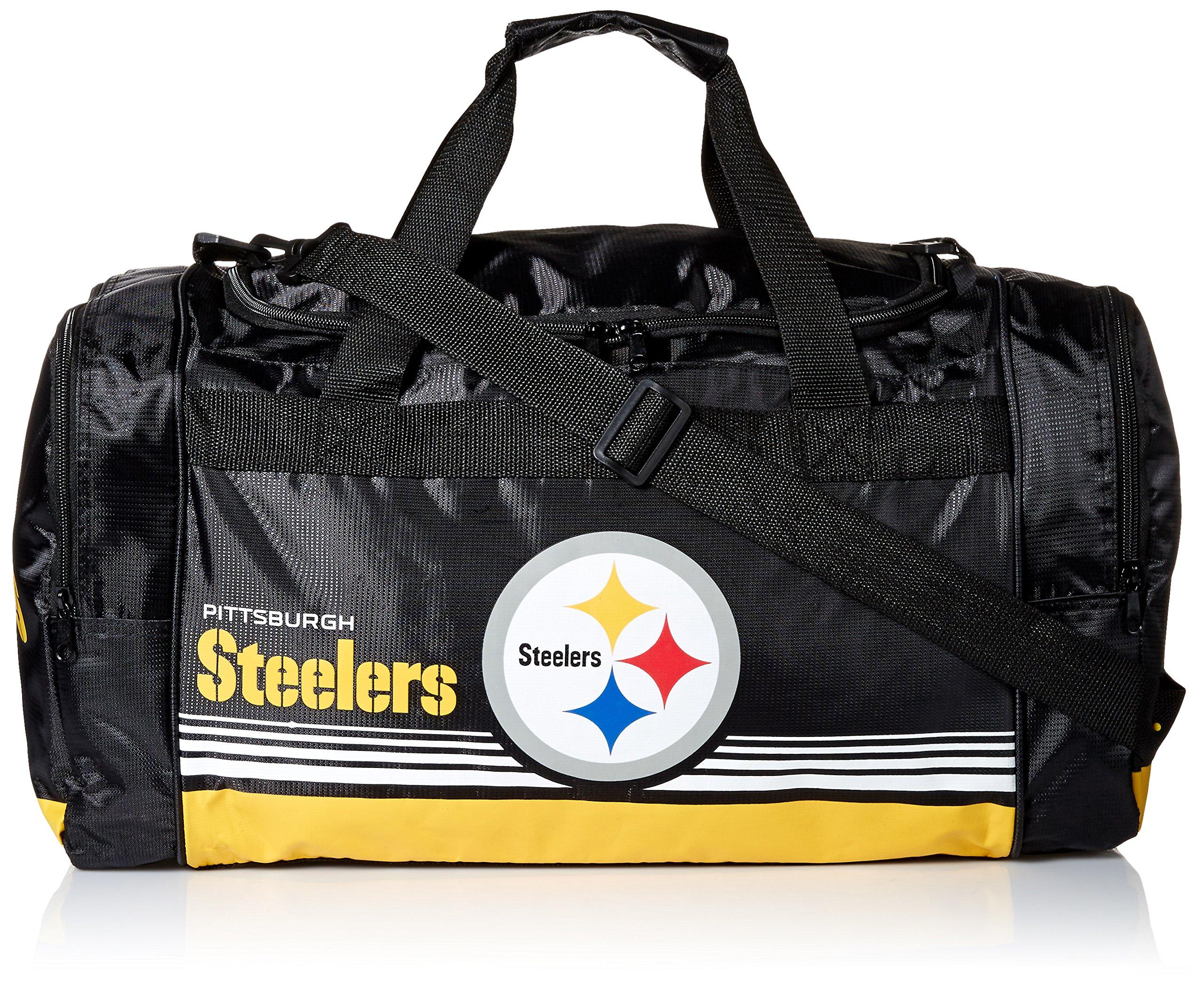 FOCO Pittsburgh Steelers Medium Striped Core Duffle Bag