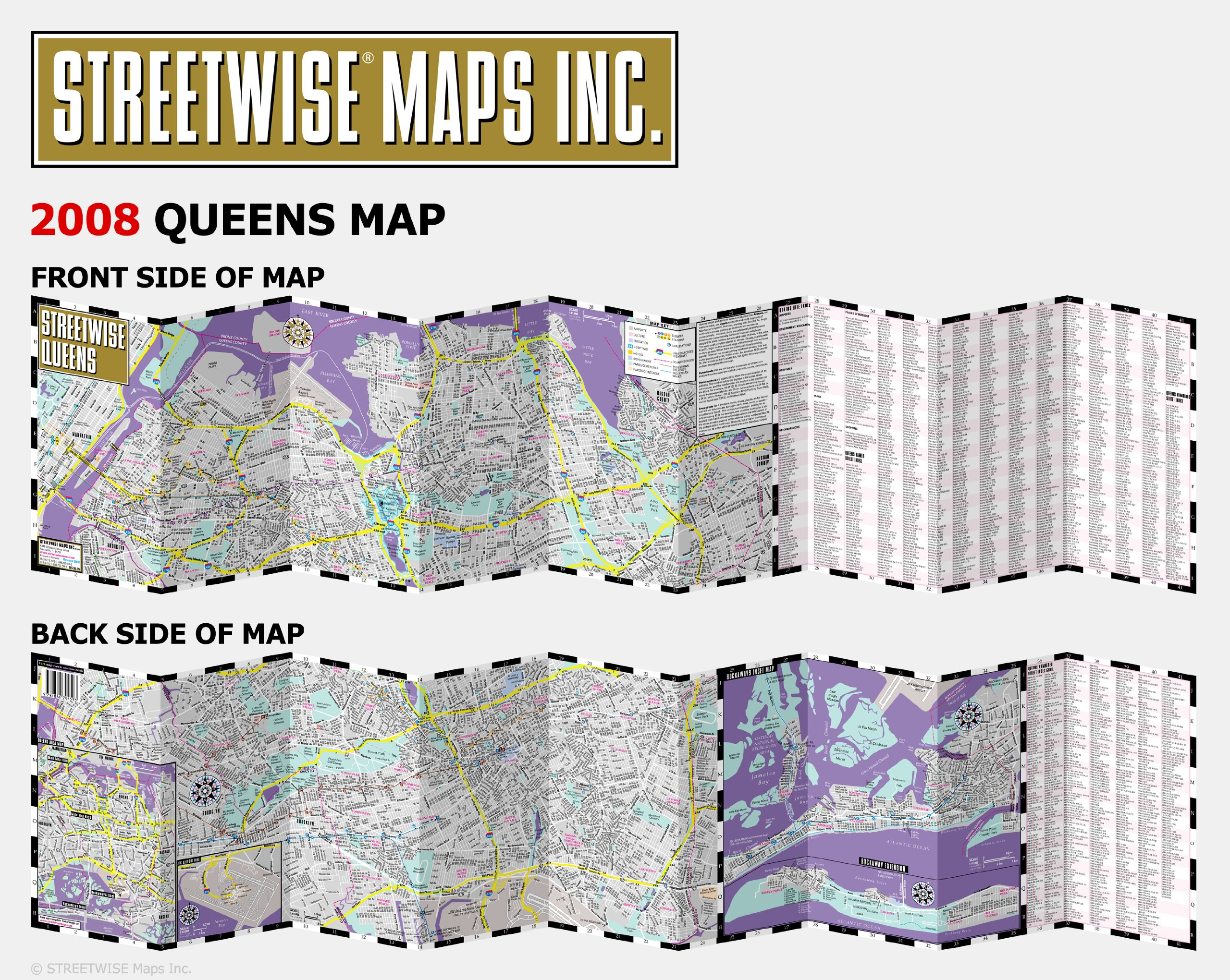 Streetwise Queens Map Laminated City Street Map Of Queens New - Nyc subway map queens ny