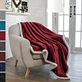 Premium Sherpa Throw Blanket by Pavilia | Super Soft, Cozy, Lightweight Microfiber, Reversible, All Season for Couch or Bed (Wine, 50 x 60 Inches)