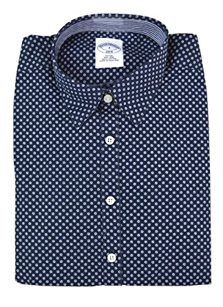 efa09300b Brooks Brothers Women's All Cotton Non-Iron Button Down Shirt Dark Blue  Petite (4P