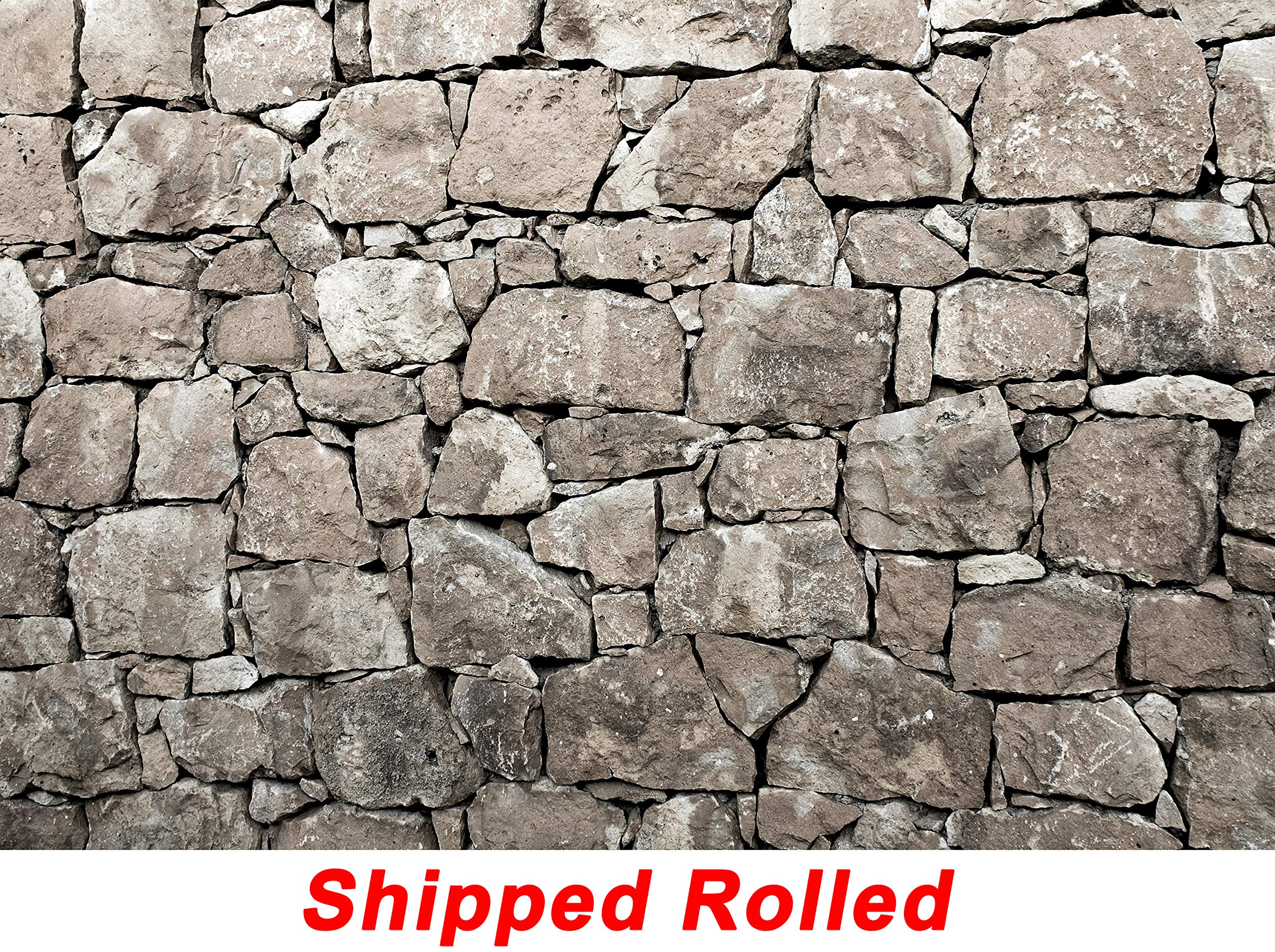 Grunge Grey Rock Wall Backdrop Weathered Old Rustic Stained Gray Stone Church Wall Printed Fabric Photography Background (G1151, 12' Wide by 8' Tall)