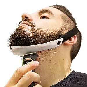 Aberlite Beard Shaper - FlexShaper Neckline Guide - Hands-Free & Flexible - The Ultimate Neckline Beard Shaping Template - Beard Trimmer Tool - Lineup Stencil Kit (White)