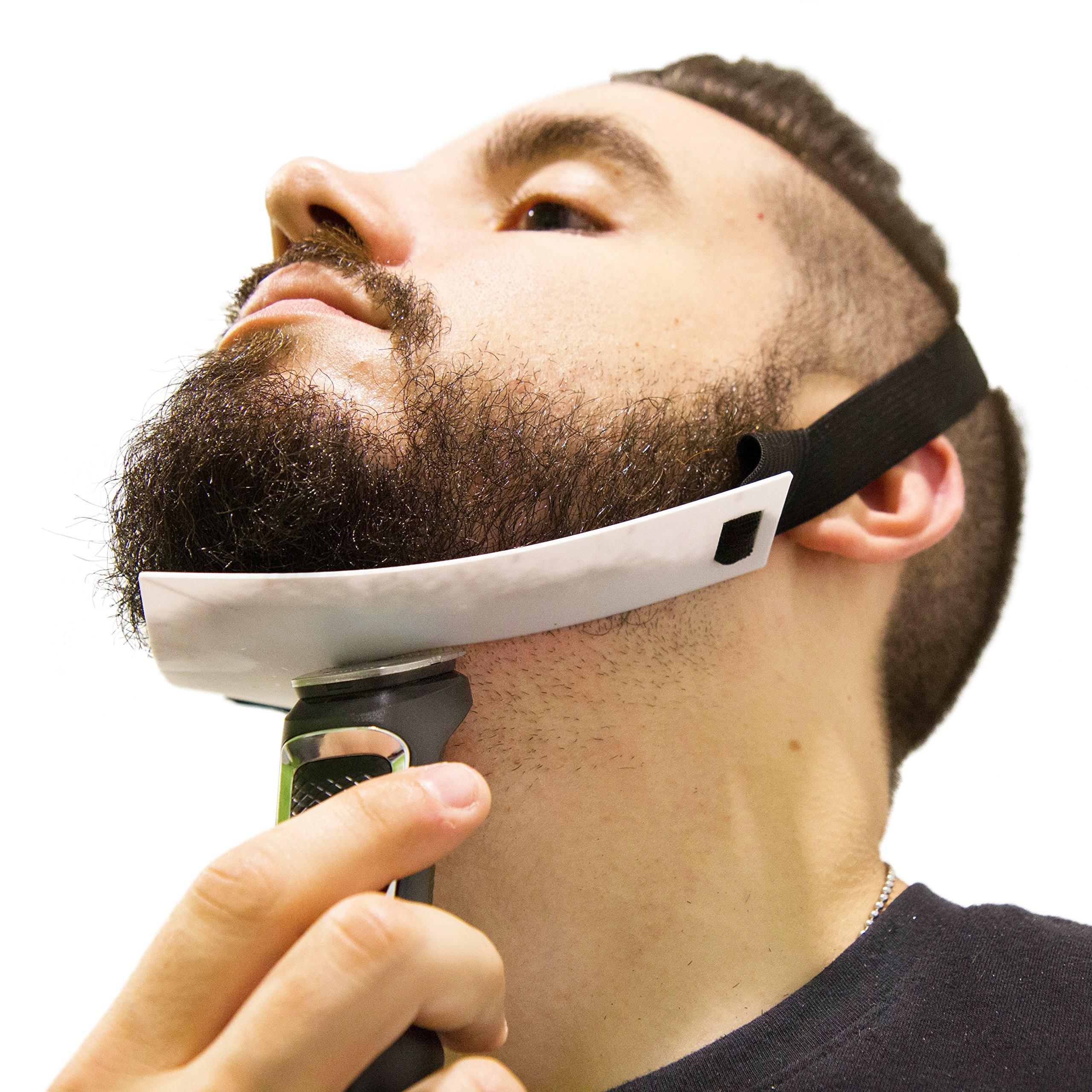 Aberlite Beard Shaper - FlexShaper Neckline Guide - Hands-Free & Flexible - The Ultimate Neckline Beard Shaping Template (Patent Pending)(White)- Beard Trimmer Guide - Lineup Stencil Kit