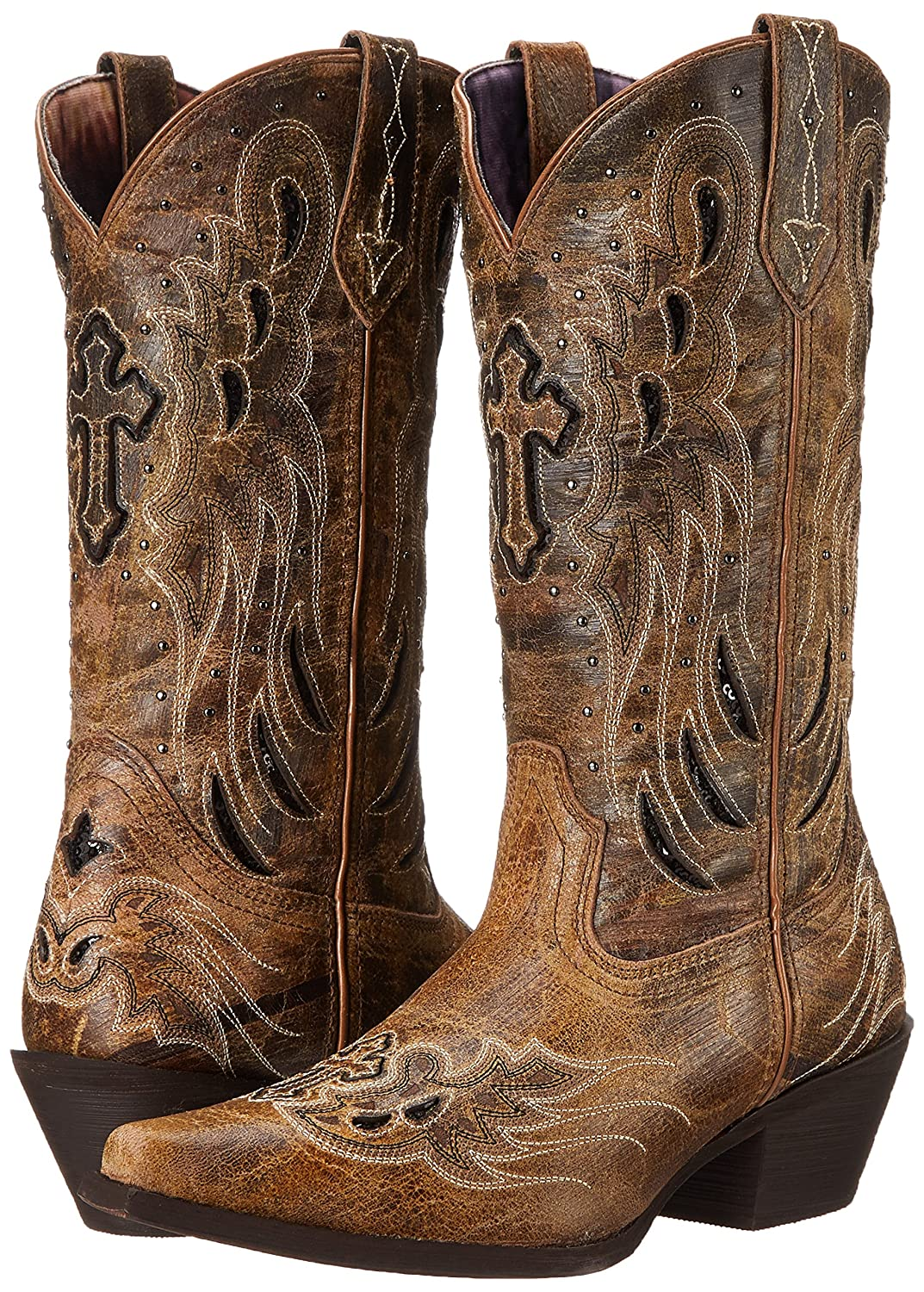Laredo Women's B00QMVMMBG Crosswing Western Boot B00QMVMMBG Women's 9 B(M) US|Taupe/Black 01b3a7